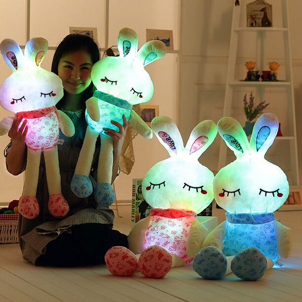 1pc 70cm Super Lovely Luminous Rabbit Plush Toy Staffed Rabbit Gleamy Doll Colorful LED Light Flashing Pillow Valentines Gift