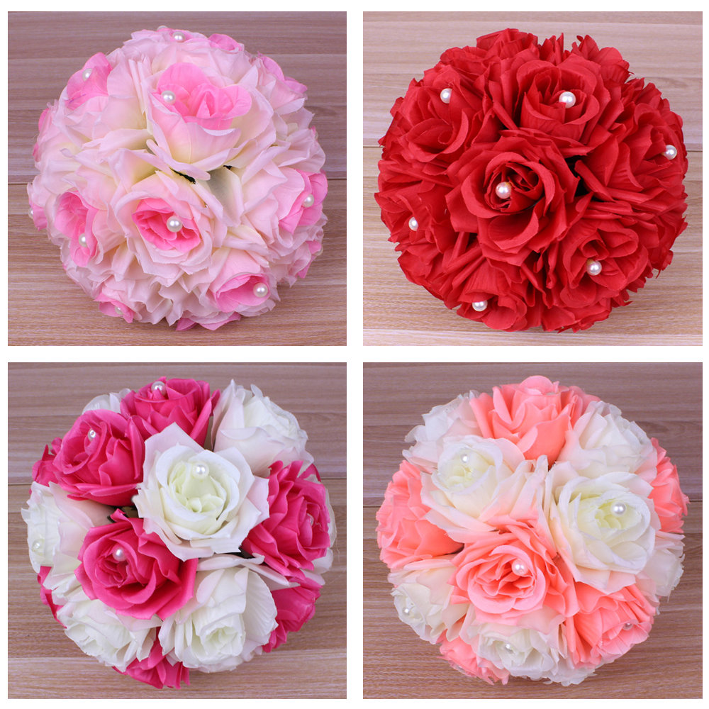Aliexpress buy new 20cm handmade artificial flower ball with aliexpress buy new 20cm handmade artificial flower ball with pearl bead diy party wedding flowers bouquets flower ball centerpiece party decor from izmirmasajfo