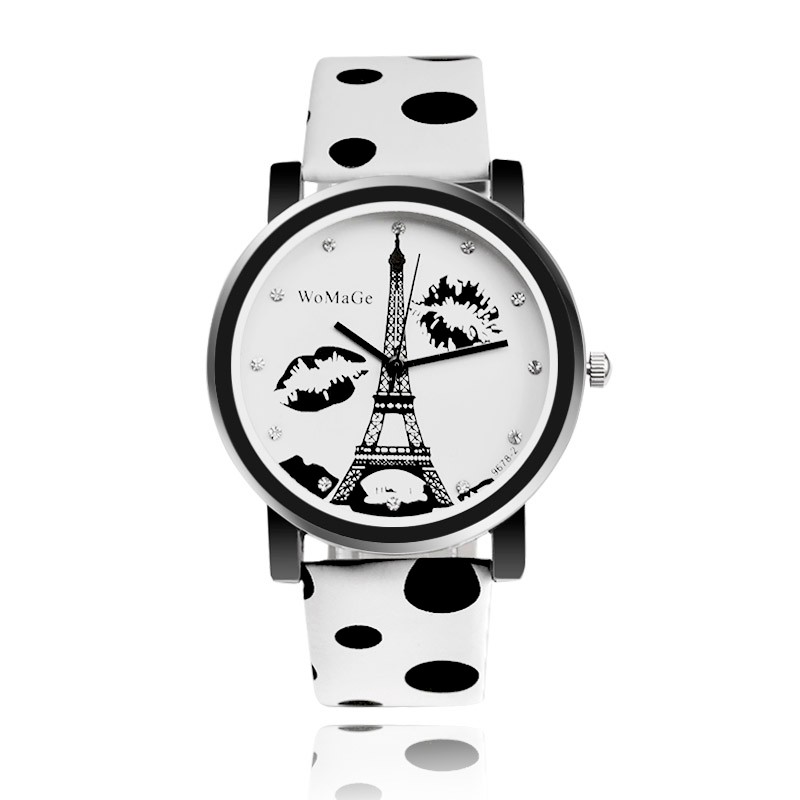 WOMAGE Women's Watches Fashion Eiffel Tower Watch Polka Dot Leather Strap Ladies Watches Clock Relogio Feminino Bayan Kol Saati