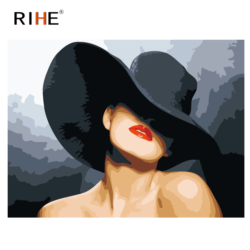Rihe Big Red Lips Oil Painting By Numbers Sexy Girl