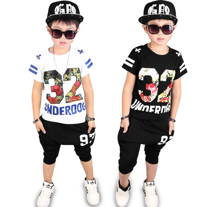 Europe&America Kids 2017 New suit Boys Clothes boy summer children short sleeved casual T Shirt+shorts 4 5 6 7 8 9 10 11 Years цена 2016