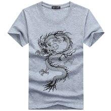 Летняя футболка мужская 3D Хлопок Смешной китайский винтажный Дракон короткий рукав летний Стиль тонкая брендовая одежда размера плюс S-5XL