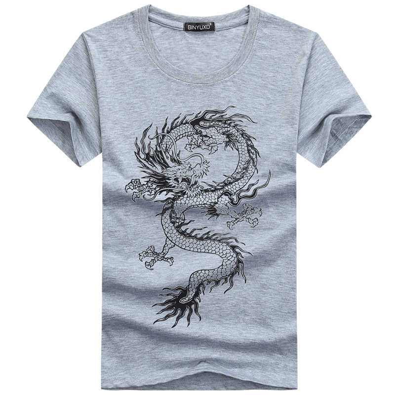 2017 summer T-Shirt Man's 3D Cotton Funny Chinese Vintage Dragon Short Sleeve Summer Style Slim Brand Clothing Plus Size s-5xl