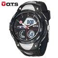 OTS Marca 2016 New Men Chronograph Exército Esporte Natação Relógios Analógico Digital Dual Time Data Alarme Presente Relógio Projeto Original