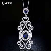 UMODE Genuine 925 Sterling Silver Queen's Artisan Crafted Blue Romance Micro Cubic Zirconia Pave Necklaces Jewelry YN0010B