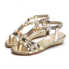 Golden fashion roman wedge sandals women sales non-slip bottom summer slippers women shoes female flip flops standard size cheap
