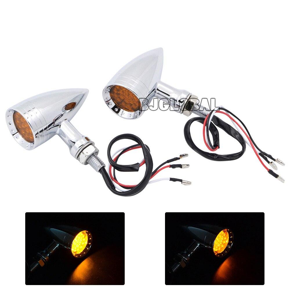 BJGLOBAL Universal M10 Aluminum Turn Signal LED Light Motocross Indicator Motorbikes Blinkers Flashers Flashing Amber Lights