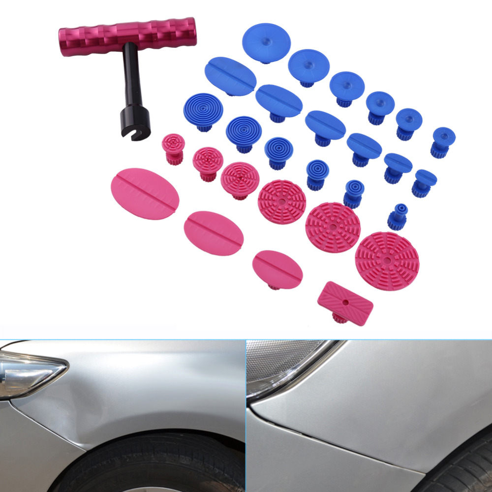 PDR Tools Kit Paintless Dent Repair Tools Dent Puller Small T-Bar Puller pops a Dent Removal Mini Lifter Glue Tabs Suction Cups