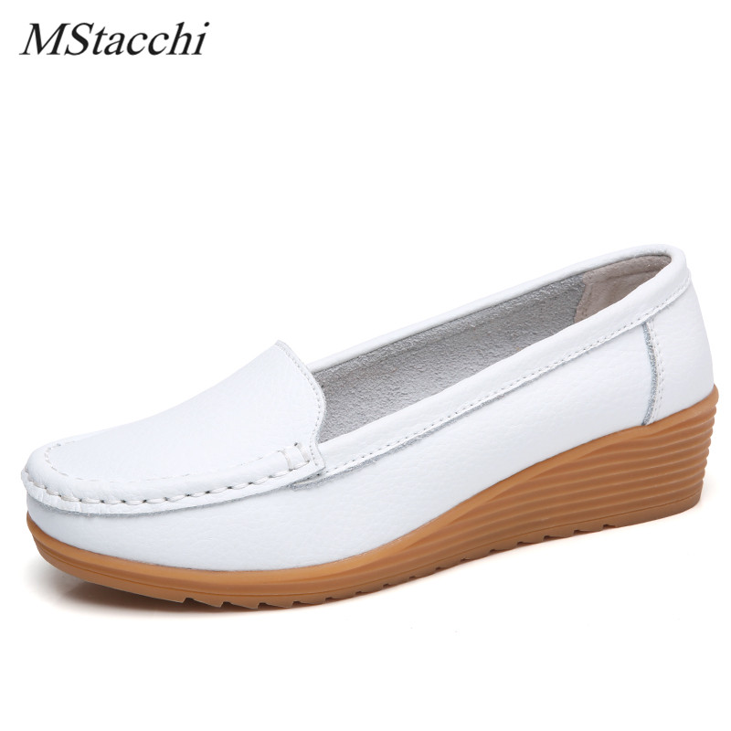 Mstacchi New Style White Nurse Shoes Woman Genuine Leather Ladies Shoe Soft Comfortable Flats Shoes Women Slip on Platform ShoesMstacchi New Style White Nurse Shoes Woman Genuine Leather Ladies Shoe Soft Comfortable Flats Shoes Women Slip on Platform Shoes