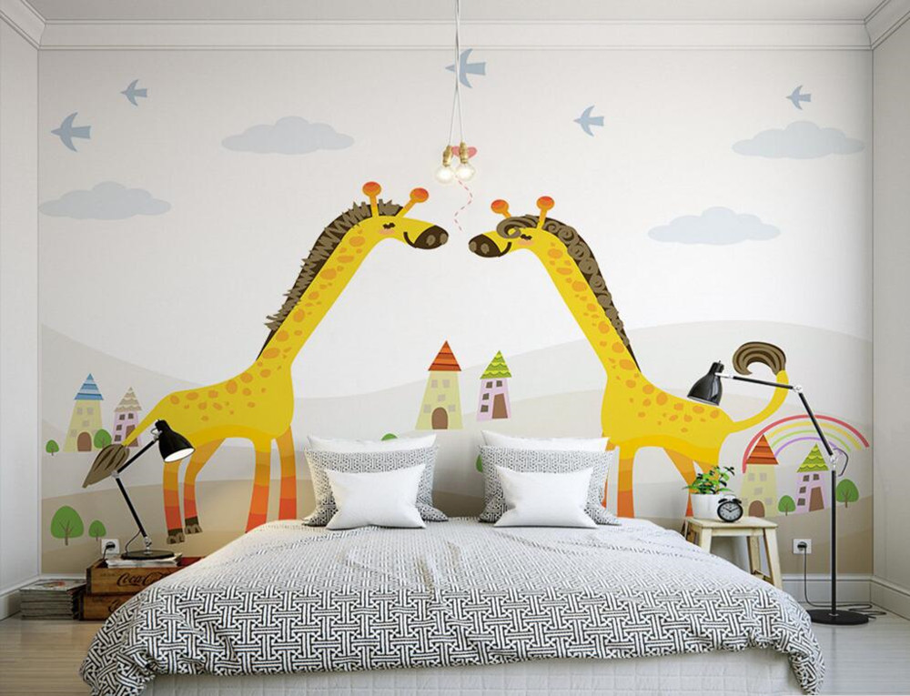 Custom 3D murals,Giraffe cartoon papel de parede, hotel coffee shop living room sofa TV wall children bedroom wallpaper custom 3d murals cartoon wolf papel de parede hotel restaurant coffee shop living room sofa tv wall children bedroom wallpaper