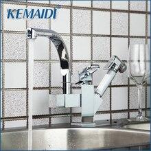 Kemaidi специальная раковина двойной Функция вытащить вниз поворотный 360 Спрей Хром Нажмите кран смесителя torneira Cozinha