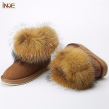 INOE cow suede leather big fox fur women short winter ankle snow boots for woman winter shoes black brown non-slip sole 35-44