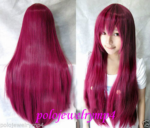 FREE SHIPPING Hot heat resistant Party hair>>>>New wig Cosplay Long Rose Purple Straight Wig 80cm