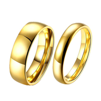 Simple Couple Wedding Rings Pair Gold Plated Couple Rings Stainless Steel Jewelry Couple Engagement Rings Set