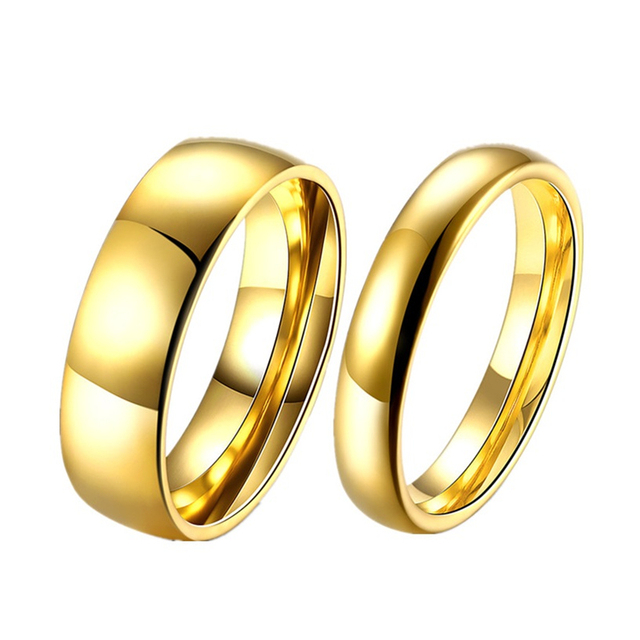 Simple Couple Wedding Rings Pair Gold Color Couple Rings Stainless