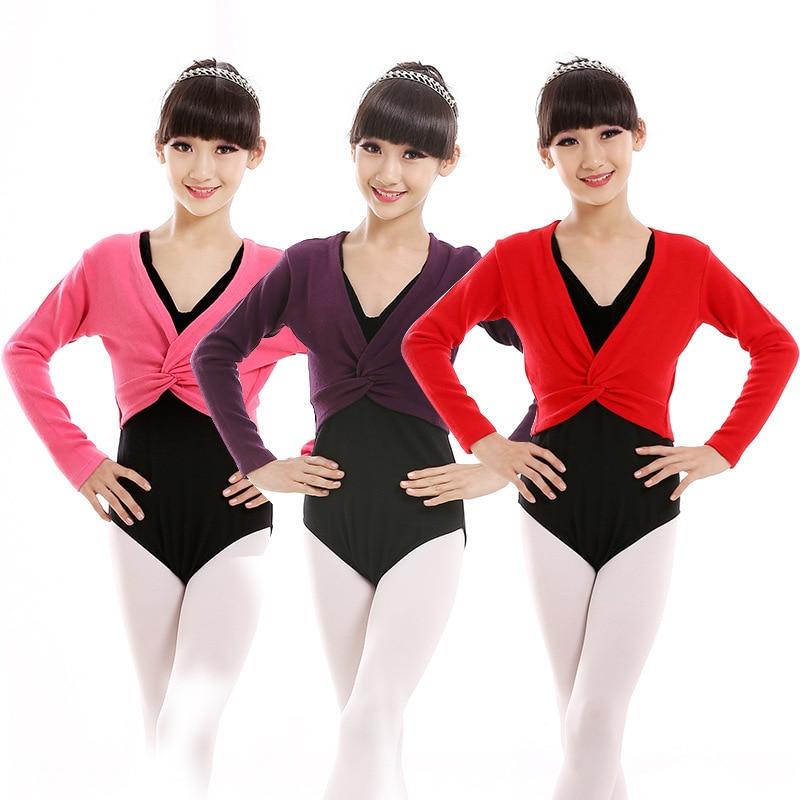 Kids gymnastics leotard for girls long sleeve Jacket Wrap Sweater Top Coat Ballet Leotards High Waist Dance Clothes Children kid