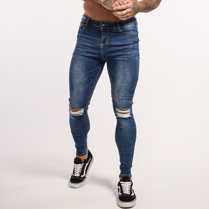Gingtto Knee Ripped Jeans Dark Blue Men Jeans Super Skinny Elastic Pant Fashion Slim Fit Stretch Hip Hop Street Wear zm06 цена 2017