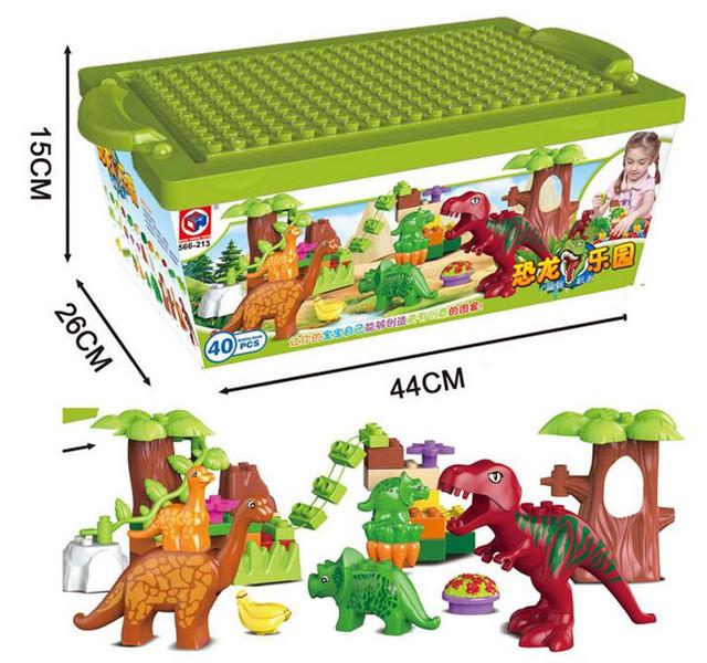 40 Unids/lote Valle Building Blocks Establece partículas Grandes Animales dinosaurio Dino Mundo Duploe Ladrillos Modelo juguetes Sin caja original