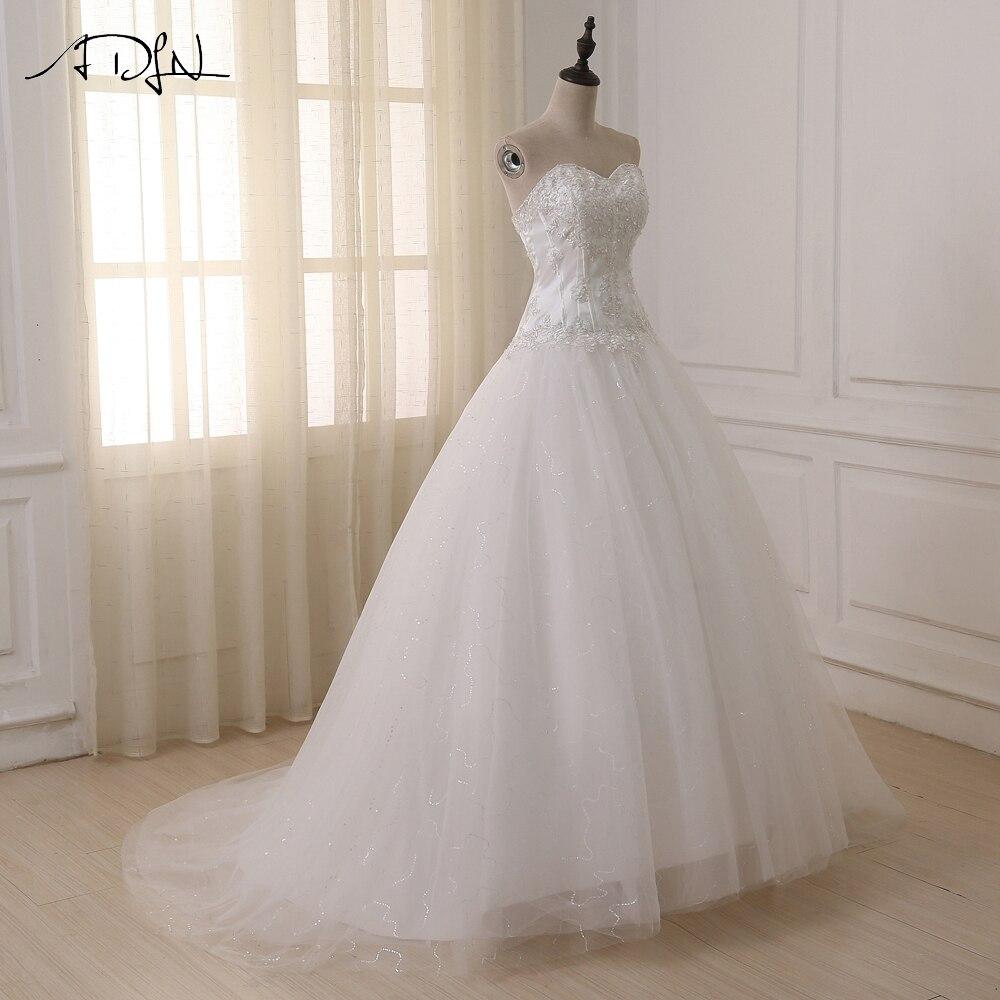 ADLN Wedding Dresses Vestidos de Novia Off the Shoulder Sweetheart Tulle Long Bride Dress Lace Up Back Plus Size In Stock 7