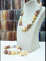 Women Jewelry Set 12 16mm round bead gold brown mixed real natural south sea shell pearl necklace dangle hook earring bracelet