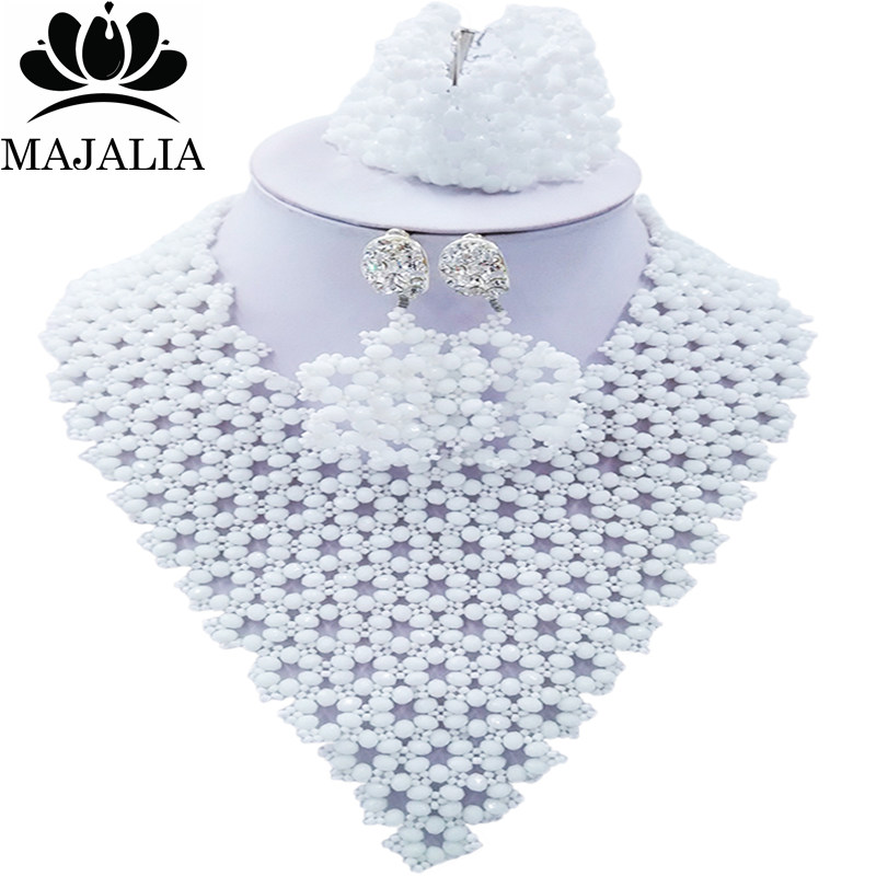 Majalia Fashion Nigeria African Wedding Jewelry Crystal White Crystal Bead Necklace Bride Jewelry Sets 4JX017Majalia Fashion Nigeria African Wedding Jewelry Crystal White Crystal Bead Necklace Bride Jewelry Sets 4JX017