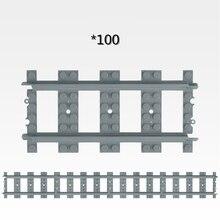 50-100 Pcs/Lot City Straight Rails Trains Train Track Rail Building Blocks Set Bricks Creator Model Toys Compatible Legoings