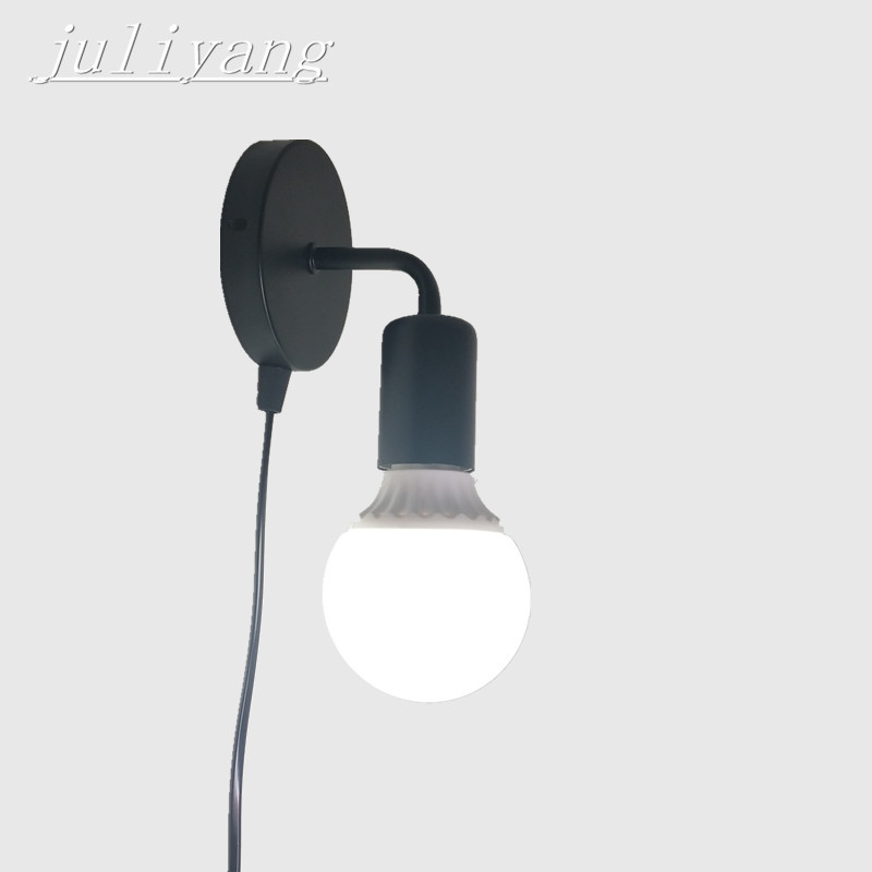 Juliyang Simple Wall Light With On Off Plug Switch White Black Silver Fix Bulb Bed Room Living Bedside Lamp 110v 220v