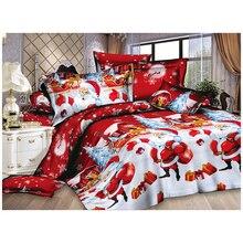 Рождественский домашний текстиль, хлопковое постельное белье высокого качества, Комплект постельного белья из 4 предметов