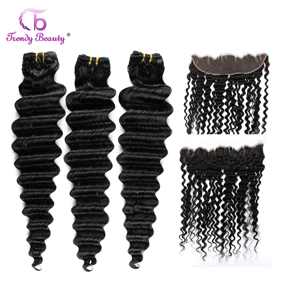 Trendy Beauty Brazilian Deep Weave Bundles With Frontal Pre-plucked Deep Wave Human Hair 3 Bundles With Frontal Non-remy 4PCS