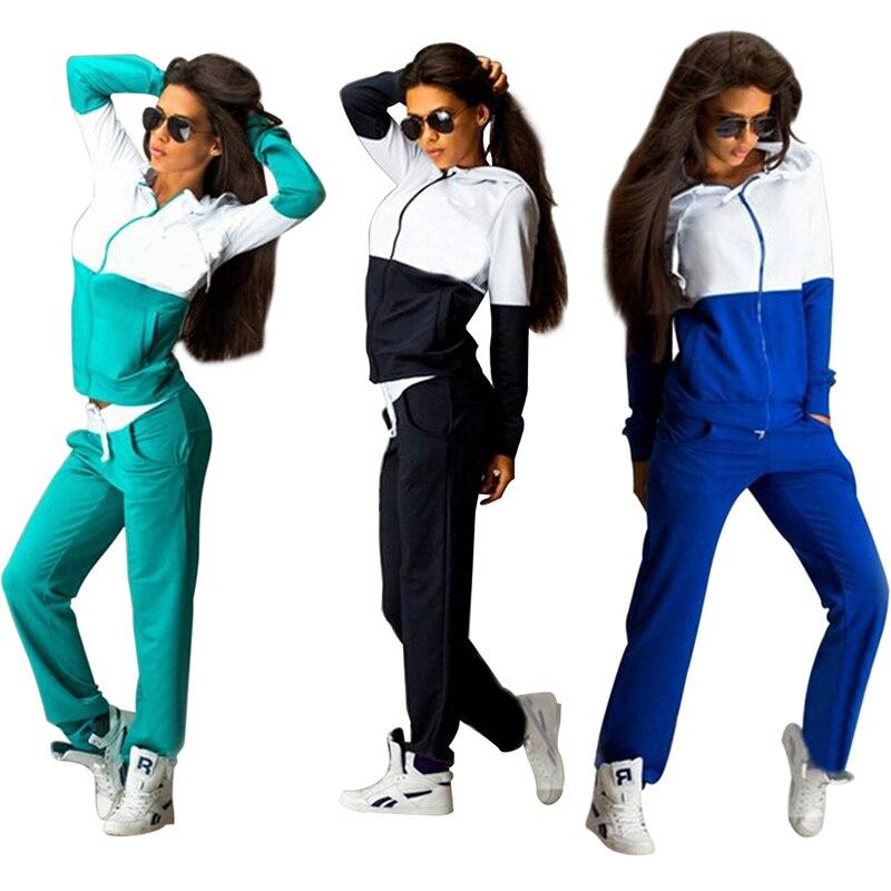 Women's Tracksuits Sport Suits Sweatshirt and Pants 2 Pcs Set Women Gym Fitness cappa Jogging Suits Ladies Clothing 2017