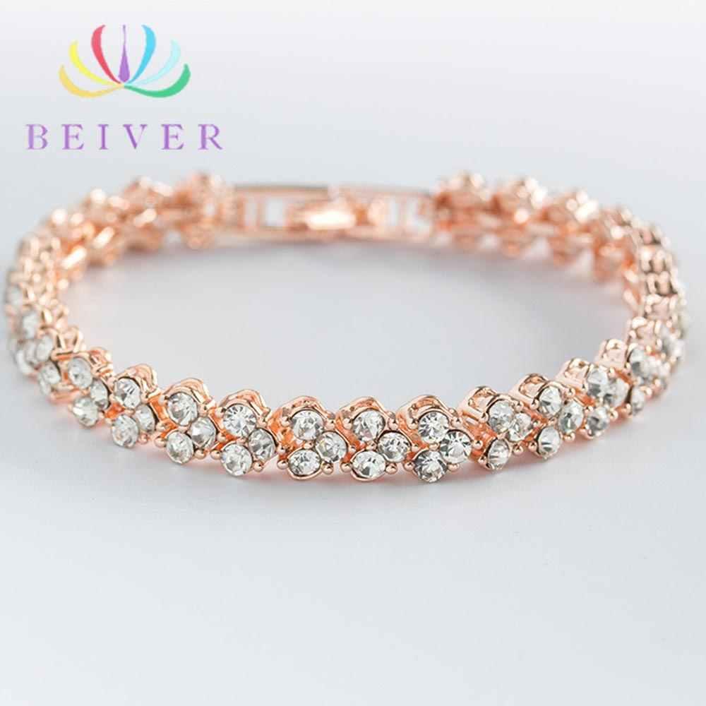 Beiver модный серебряный Римский браслет для женщин, изысканный браслет с кристаллами и цирконием, сияющий привлекательный браслет, вечерние ювелирные изделия для помолвки