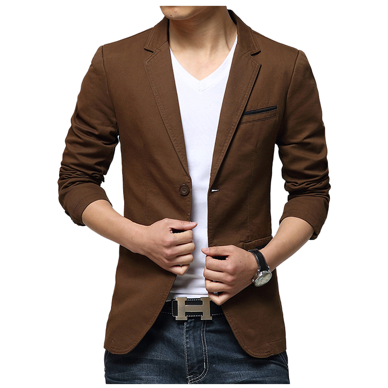 Casual Suit Blazer Men New Arrival Fashion Slim Fit Jacket Male Suits Cotton Solid Color Masculine Blazer For Men Outerwear H508