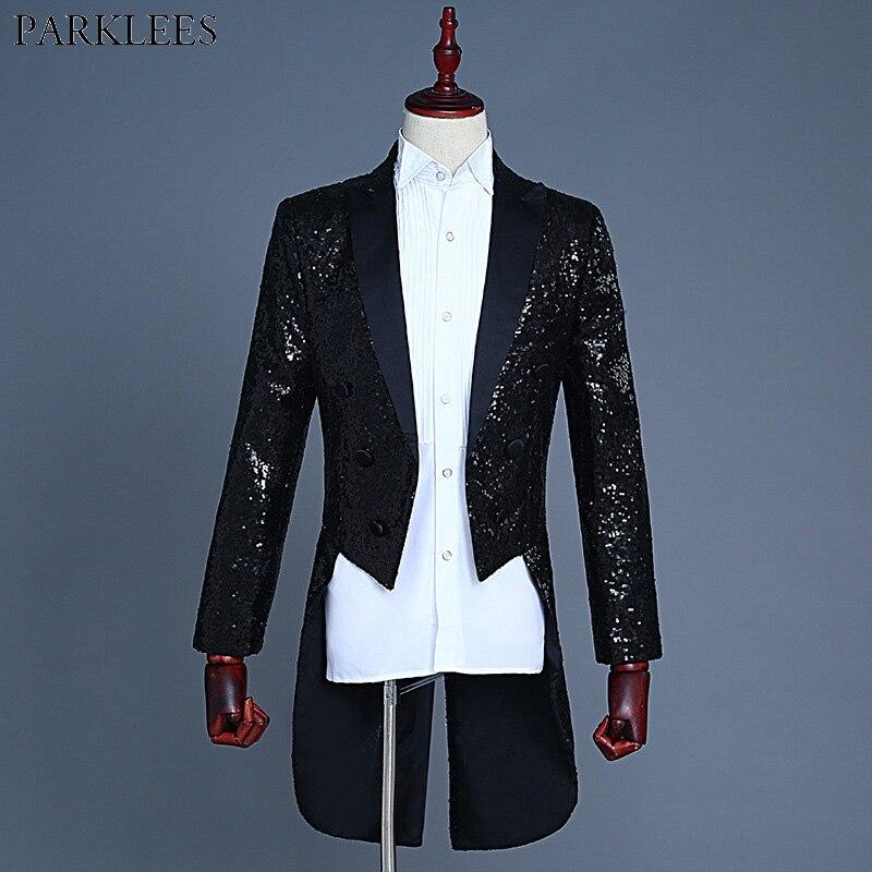 Black Shiny Sequin Slim Fit Tuxedo Swallowtail Men Nightclub Prom Suit Blazer Jacket Men Wedding Stage Singer Costume Homme XXL