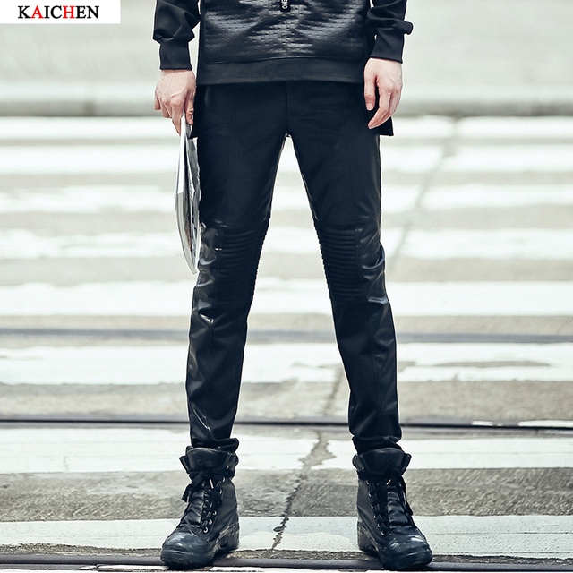 Pantalones de los hombres pantalones de Cuero de Imitación flaco roca cuero de la motocicleta pantalones pantalones de gran tamaño tamaño M-XXL negro de lujo de calidad