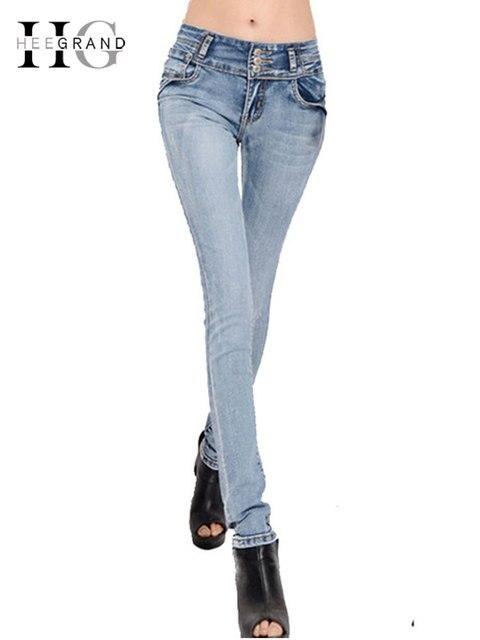 ec8dbbe59f HEE GRAND 2018 Longue Maigre Crayon Femme Jeans Taille Haute Élastique Denim  Pantalon Femelle Lavé Stretch