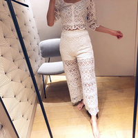 2019 spring new high waist hollow out lace embroidery women sexy perspective wide leg long pants white lace pants