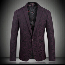 2018 mens blazer designer brand clothing casual suit Slim Single Button Jacket purple navy blue men blazer Size: S- XXXL 1783 цена