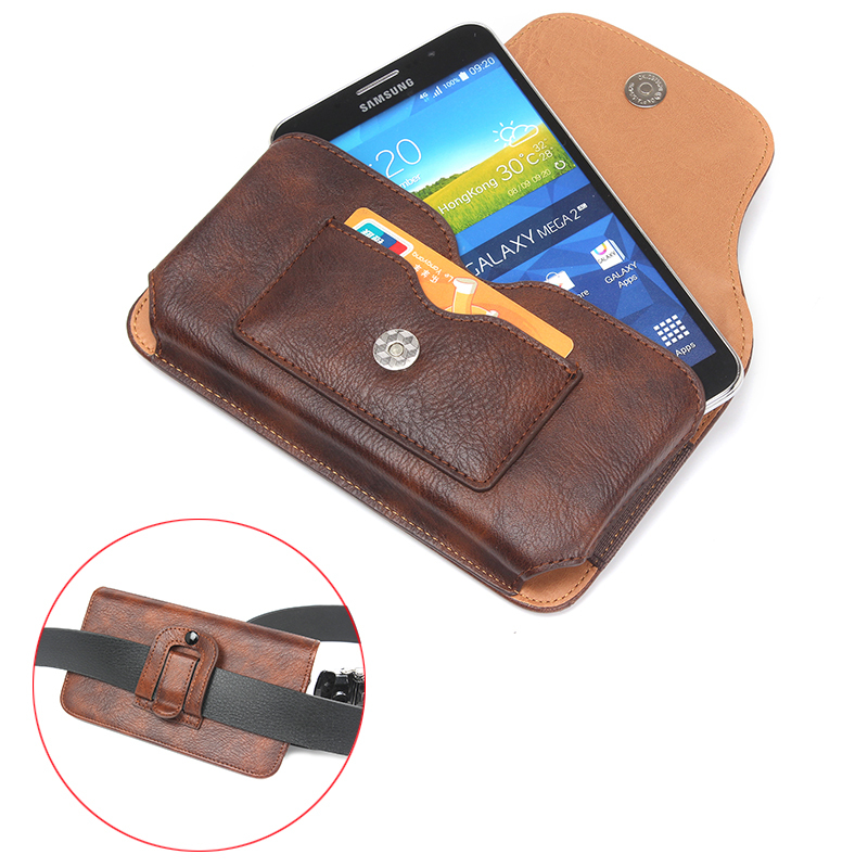 "Fashion Magnetic PU Leather Cover Bags With Card Slots Hook Loop Belt Pouch Sport Horizontal Case For All Smartphone 5.5"" Below"