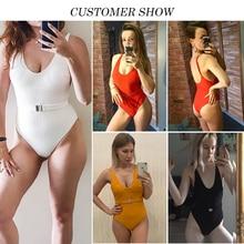 In-X Buckle white bodysuit Push up sexy bikini 2019 High cut one piece swimsuit female monokini Padded swimwear New bathing suit