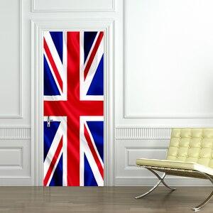 3D druku flaga brytyjska plakat wodoodporny PVC całe drzwi naklejki kreatywne naklejki naklejka na ścianę i drzwi DIY Home Decor fototapety sypialni wystrój domu