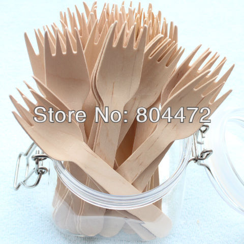 500pcs Wholesale Eco Friendly Disposable Wooden Fork Heavy Weight 100 Pack 16cm Flatware cutlery birch wood