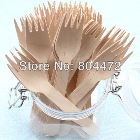 500 قطع بالجملة صديقة للبيئة المتاح خشبية شوكة الوزن الثقيل 100/حزمة 16 سنتيمتر أطباق السكاكين البتولا الخشب-في أدوات مائدة للحفلات للاستخدام مرة واحدة من المنزل والحديقة على  مجموعة 1