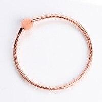 Silver Charm Basic Bracelets For Women Rose Gold Clasp Clip Snake Chain Bracelet Fit Diy Beads