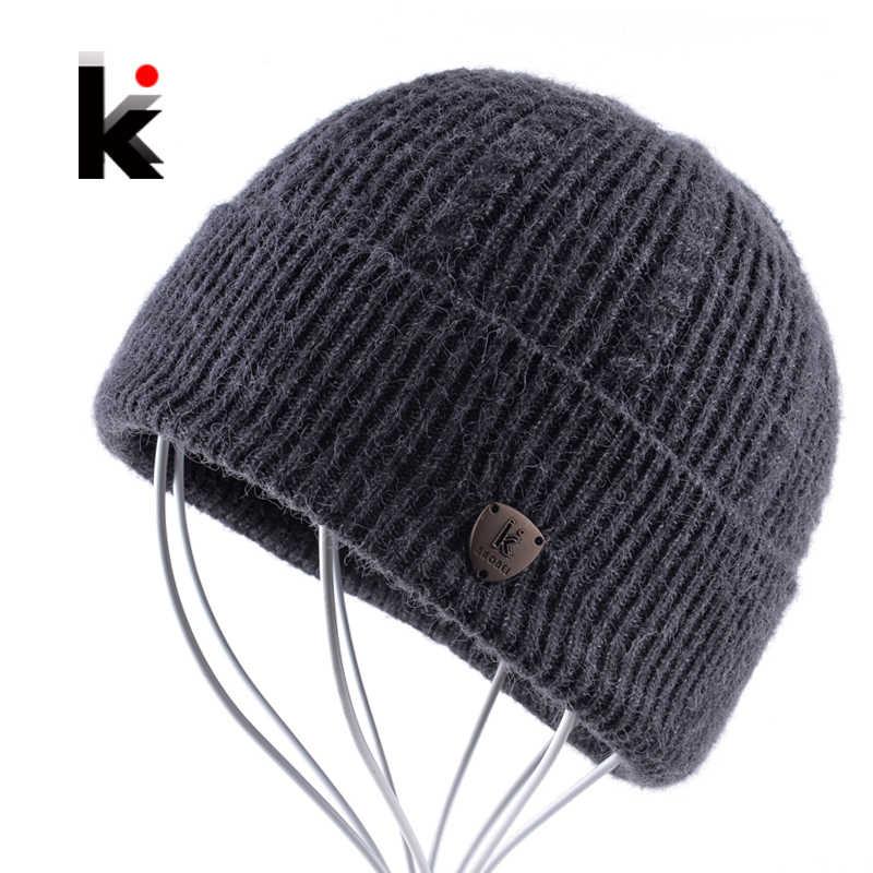 4153f57b4b1 2018 Men s Skullies Autumn And Winter Beanie Wool Hat Knitted Bonnet Cap  Thicker Fringe Mens Beanies