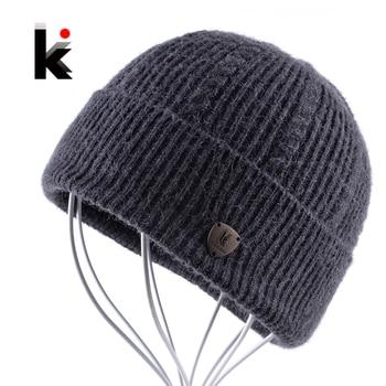2018 hombres Skullies Otoño e Invierno lana Beanie sombrero Bonnet gorra  más gruesa franja hombre gorros sombreros para hombres bonne gorras 92b0b789e16d