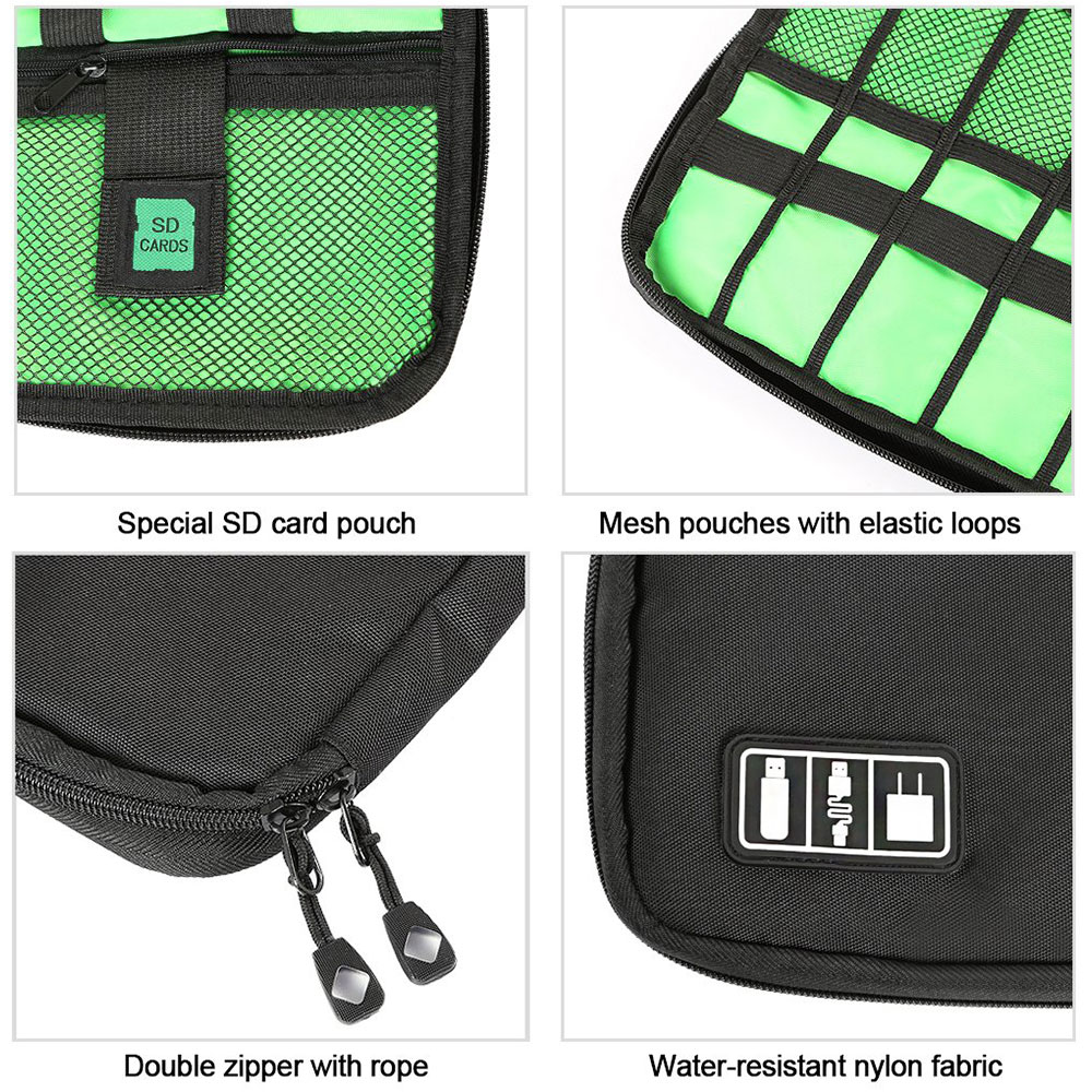 Black Cable Organizer Electronics Accessories Travel Bag USB Drive Bag Healthcare Grooming Kit Winder Management Storage Case (4)