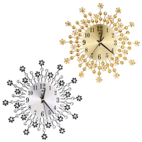 Large Wall Clock Flower Art Metal Modern Luxury Diamond Indoor Home Living Room W30