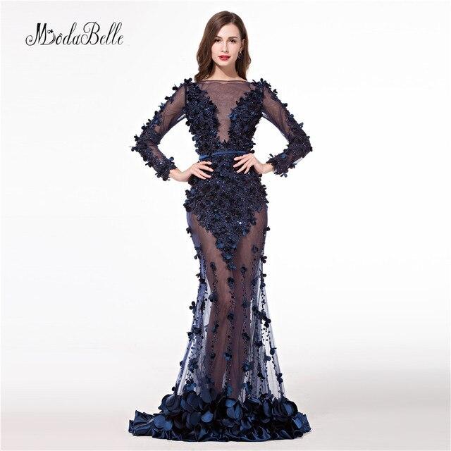 Formele Avondjurk 2017 Luxury Elegant Long Mermaid Evening Dresses Long  Sleeve Sheer Backless Formal Celebrities Prom 62b7433770a2