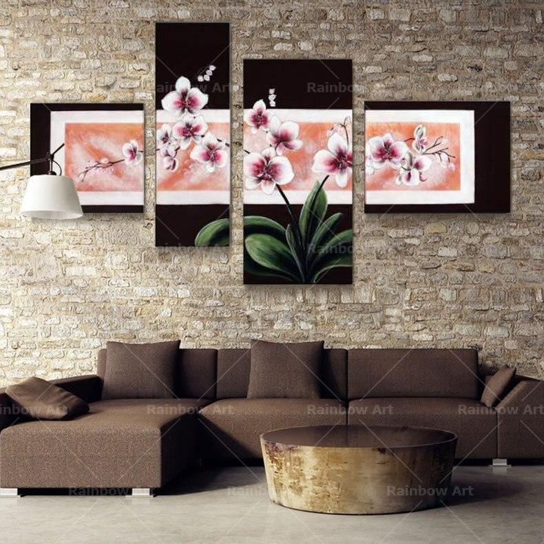 √4 unidades 100% flor abstracta hecha a mano pinturas al óleo del ...