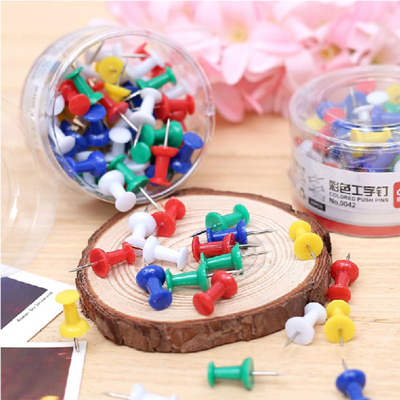 80 Pcs/lot Deli Plastic Quality Cork Board Safety Colored Push Pins Thumbtack Office School Accessories Supplies